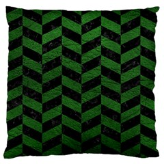 Chevron1 Black Marble & Green Leather Standard Flano Cushion Case (one Side)