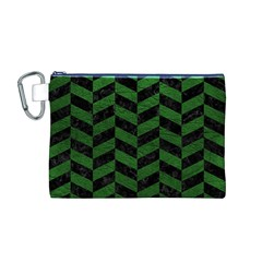 Chevron1 Black Marble & Green Leather Canvas Cosmetic Bag (m)