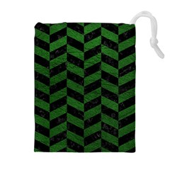 Chevron1 Black Marble & Green Leather Drawstring Pouches (extra Large)