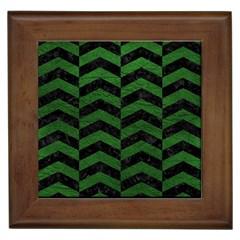 Chevron2 Black Marble & Green Leather Framed Tiles