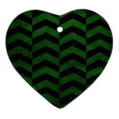 Chevron2 Black Marble & Green Leather Ornament (heart)