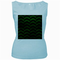 Chevron2 Black Marble & Green Leather Women s Baby Blue Tank Top