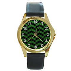 Chevron2 Black Marble & Green Leather Round Gold Metal Watch