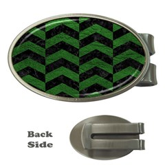 Chevron2 Black Marble & Green Leather Money Clips (oval)
