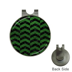 Chevron2 Black Marble & Green Leather Hat Clips With Golf Markers