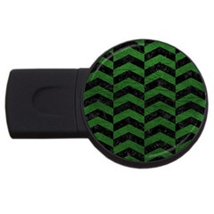 Chevron2 Black Marble & Green Leather Usb Flash Drive Round (4 Gb)