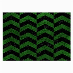 Chevron2 Black Marble & Green Leather Large Glasses Cloth