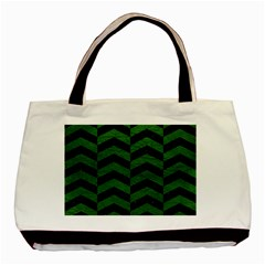 Chevron2 Black Marble & Green Leather Basic Tote Bag (two Sides)