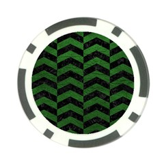 Chevron2 Black Marble & Green Leather Poker Chip Card Guard