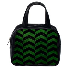 Chevron2 Black Marble & Green Leather Classic Handbags (one Side)