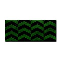 Chevron2 Black Marble & Green Leather Cosmetic Storage Cases