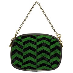 Chevron2 Black Marble & Green Leather Chain Purses (one Side)