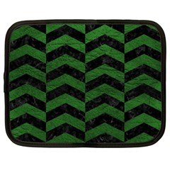 Chevron2 Black Marble & Green Leather Netbook Case (xl)