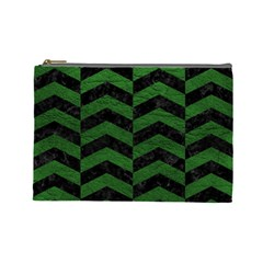 Chevron2 Black Marble & Green Leather Cosmetic Bag (large)