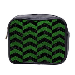 Chevron2 Black Marble & Green Leather Mini Toiletries Bag 2 Side