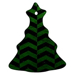 Chevron2 Black Marble & Green Leather Christmas Tree Ornament (two Sides)