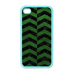 Chevron2 Black Marble & Green Leather Apple Iphone 4 Case (color)