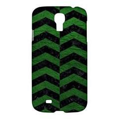 Chevron2 Black Marble & Green Leather Samsung Galaxy S4 I9500/i9505 Hardshell Case