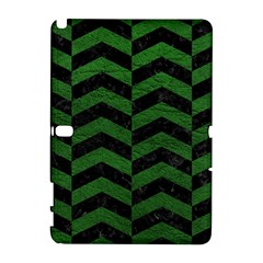 Chevron2 Black Marble & Green Leather Galaxy Note 1