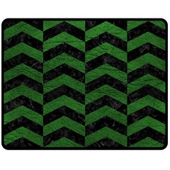 Chevron2 Black Marble & Green Leather Double Sided Fleece Blanket (medium)