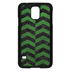 Chevron2 Black Marble & Green Leather Samsung Galaxy S5 Case (black)