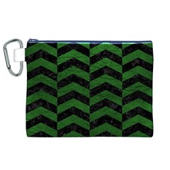 Chevron2 Black Marble & Green Leather Canvas Cosmetic Bag (xl)