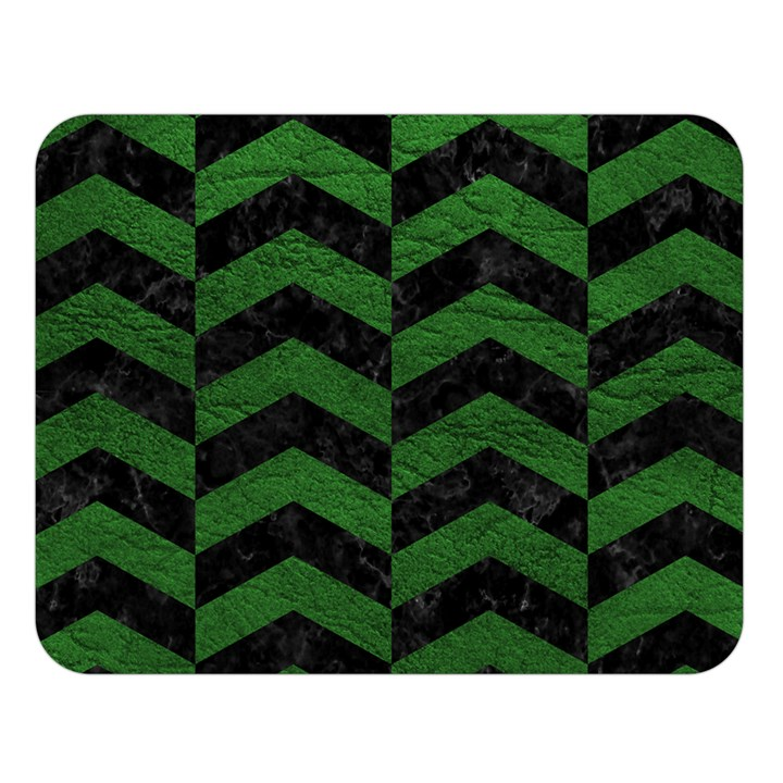 CHEVRON2 BLACK MARBLE & GREEN LEATHER Double Sided Flano Blanket (Large)
