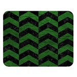 CHEVRON2 BLACK MARBLE & GREEN LEATHER Double Sided Flano Blanket (Large)   Blanket Back