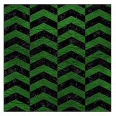 Chevron2 Black Marble & Green Leather Large Satin Scarf (square)
