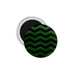 Chevron3 Black Marble & Green Leather 1 75  Magnets