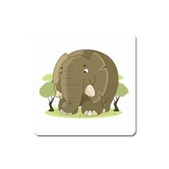 Cute Elephant Square Magnet