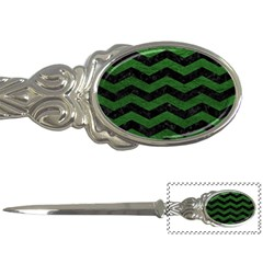 Chevron3 Black Marble & Green Leather Letter Openers