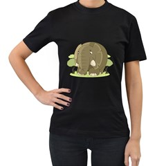 Cute Elephant Women s T Shirt (black) (two Sided)