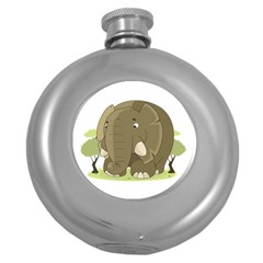 Cute Elephant Round Hip Flask (5 Oz)
