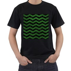 Chevron3 Black Marble & Green Leather Men s T Shirt (black) (two Sided)