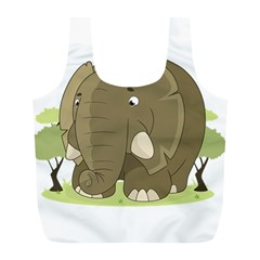 Cute Elephant Full Print Recycle Bags (l)