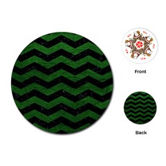 Chevron3 Black Marble & Green Leather Playing Cards (round)