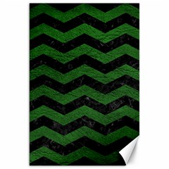 Chevron3 Black Marble & Green Leather Canvas 20  X 30