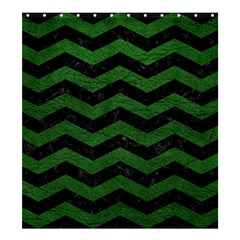 Chevron3 Black Marble & Green Leather Shower Curtain 66  X 72  (large)