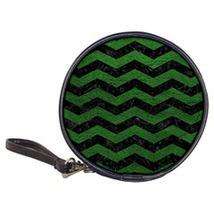 Chevron3 Black Marble & Green Leather Classic 20 Cd Wallets