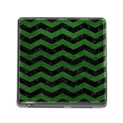 Chevron3 Black Marble & Green Leather Memory Card Reader (square)