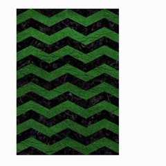 Chevron3 Black Marble & Green Leather Large Garden Flag (two Sides)