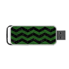 Chevron3 Black Marble & Green Leather Portable Usb Flash (one Side)