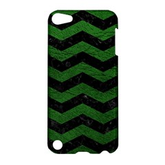 Chevron3 Black Marble & Green Leather Apple Ipod Touch 5 Hardshell Case