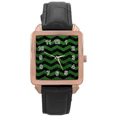 Chevron3 Black Marble & Green Leather Rose Gold Leather Watch