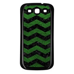 Chevron3 Black Marble & Green Leather Samsung Galaxy S3 Back Case (black)