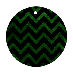 Chevron9 Black Marble & Green Leather Ornament (round)