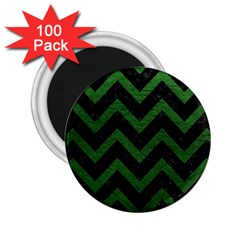 Chevron9 Black Marble & Green Leather 2 25  Magnets (100 Pack)