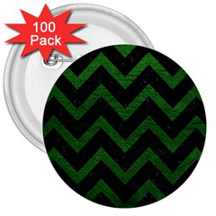 Chevron9 Black Marble & Green Leather 3  Buttons (100 Pack)