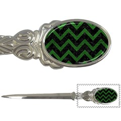 Chevron9 Black Marble & Green Leather Letter Openers